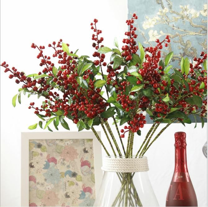 Wholesale Latex Artificial  Christmas berry Flowers For Christmas Decoration
