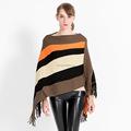 New coming fashion ladies acrylic thicker striped poncho cape