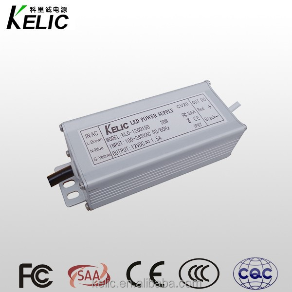 Constant Voltage 12V 1.5A LED power supply dc adapter 18W waterproof led power supply