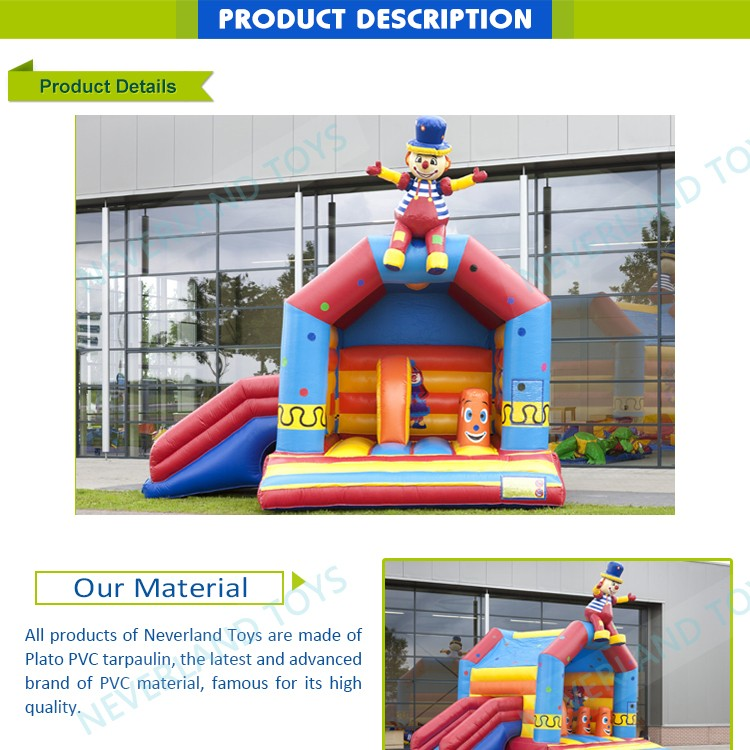 Clown Inflatable Fun House Bouncer, inflatable bouncer with slide for sale