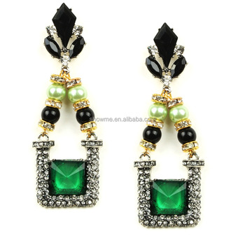 Alibaba express high quality green crystal earrings wholesale high fashion costume earrings green earring