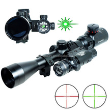 New Air soft Professional 3-9x40 Hunting Rifle Scope Mil-Dot illuminated Snipe Scope & Green Laser Sight Airsoft