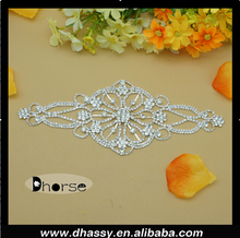 DH-RE2848 Exquisitely Bridal Rhinestone Applique/ Crystal Rhinestone Embellishment Sew on Metal Backing