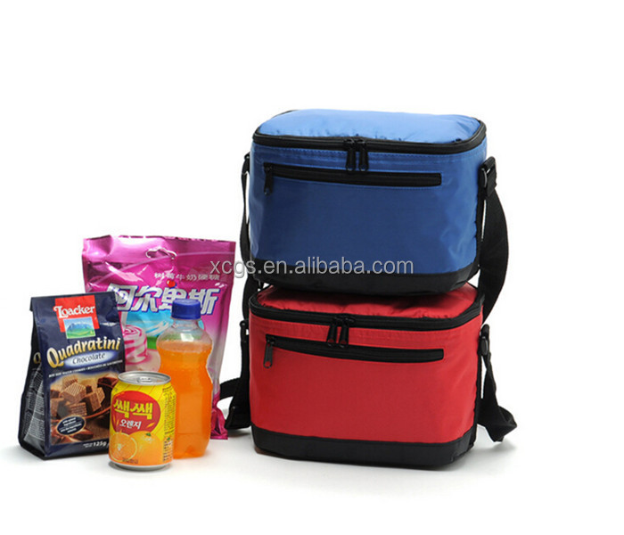 Red and blue cooler tote bag, lunch printed cooler bag