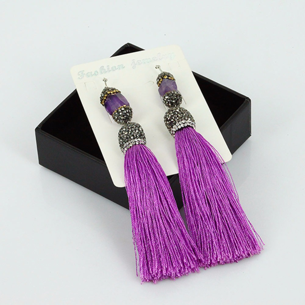 Boho Jewelry Natural Amethyst stone with Micro CZ Pave Purple Long Tassel Fringe Earrings