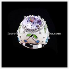 Wholesale Authentic Austria light purple crystal gold plated Chinese style ring jewelry