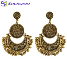 New Style Antique Indian Simple Gold Fashion Jewelry Jhumka Earring for Women