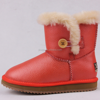 JLX2016 the latest design,sheepskin kids fashion classical acrylic crystal buckle snow boot warm and comfortable