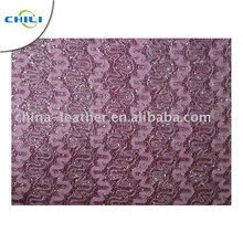 mesh PU synthetic leather with glitter for shoes and bags