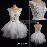 Cute Bridal Dresses DNS-1497 Boat Neck Appliqued Beaded Ruched Real Picture Bodice A-line Sheer Back Sexy Short Wedding Dresses