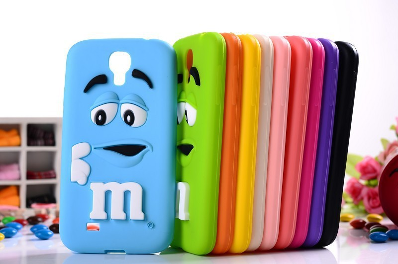 For Samsung Galaxy S4 I9500 3D cute Cartoon M$M Chocolate jelly Bean Silicone Case,100pcs/lot