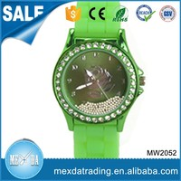 Crystal bezel customized logo colorful silicone woman watches classic