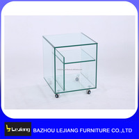 modern clear bent glass corner table coffee table with wheels