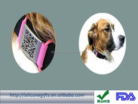 unique QR code laser engraving silicone pet id tag with metal plate