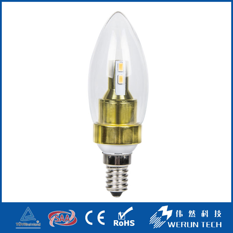 Werun Promotion b15 dimmable bright led candle light