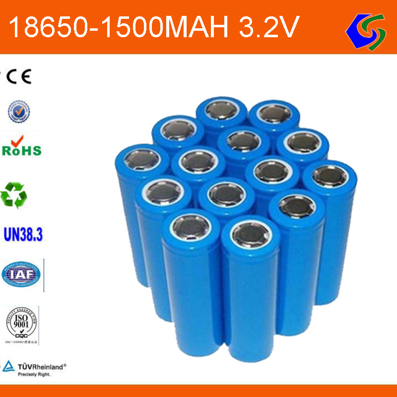 18650 3.2v 1500mah cylindrical rechargeable lifepo4 battery cell