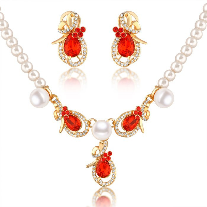 New Design 2015 Jewellery Unisex Gender Plated 18K Gold Pink Pearl African Beads Jewelry Set