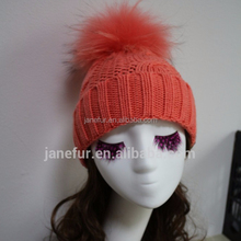 Light Orange Hot Women Fur Pom Pom Ball Knitted Crochet Baggy Bobble Hat Beanie Beret Ski Cap