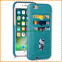 Hot selling leather wallet back cover case with card slot for iphone 6 6 plus