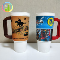 novelty plastic drinking mug plastic hot drink cups custom color plastic drinking cup with handle