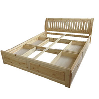 cheap solid wood double bed with drawers KS-DB07