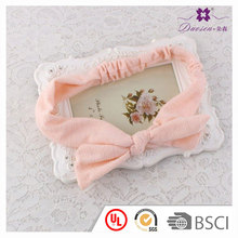 Fashionable knitted fancy Hairbands pink large bow headband