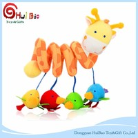 Rainbow Giraffe with four birds stuffed plush children animals toy