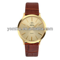 Factory Price Fashion Stainless steel sapphire glass super thin leather man gold wrist watch