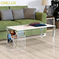 ONELUX 2018 New Acrylic Coffee Table With Side Magzine Rack,Lucite Living room Tables Tapered Legs-100W50D40H CM