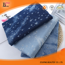 cotton/polyester broken tie dye twill cheap denim fabric wholesale