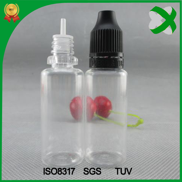 Hot selling PETe liquid dropper bottle 15ml with childproof sealed ring cap