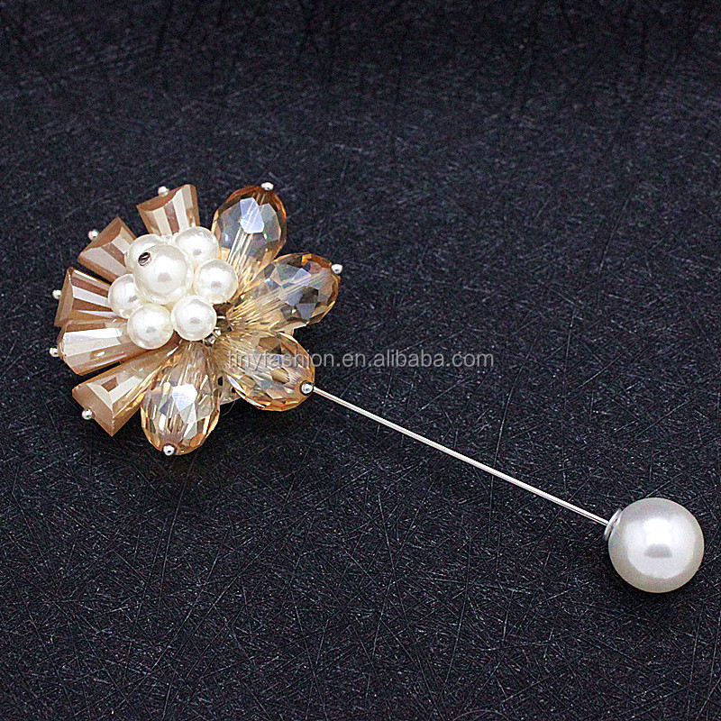 High Quality crystal flower Brooch Lapel Pin For Wedding Handmade hijab safty pin for muslim women