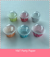 Polk Dots Cake Cups With Cover Birthday Party Table Ware Baby Shower 10pcs Set Small Size