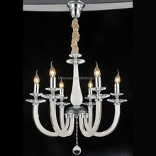 Classical High Quality White Glass Arm Chandelier with 6 Lamps Crystal Lighting