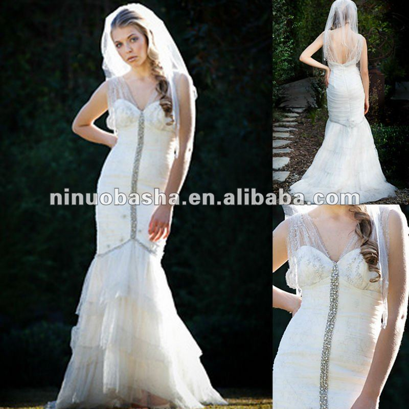Mermaid V-neck empire bodice lace ruffles from knee wedding dress