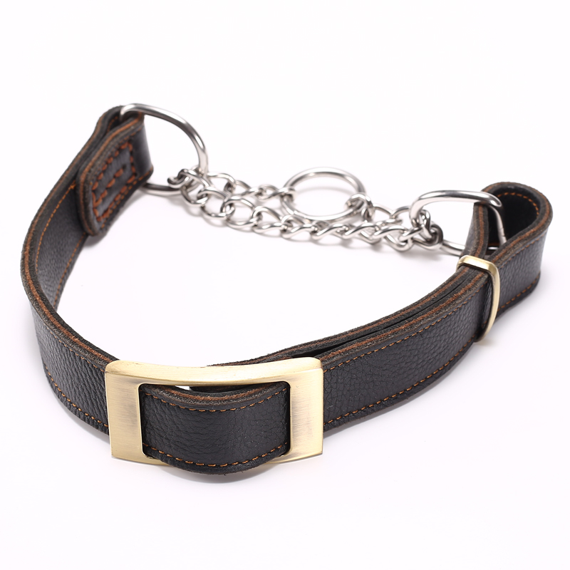 2018 new design heavy duty leather dog collar chain dog collar