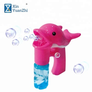 summer outdoor toys electric dolphin fish bubble gun with light sound