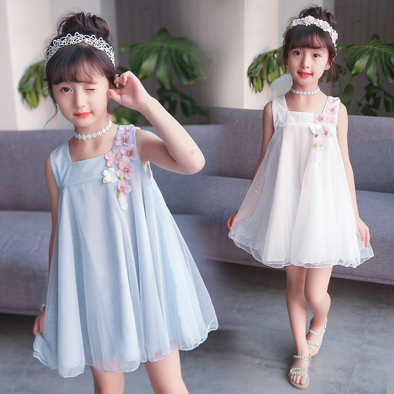 B11003A new pretty children girl summer chiffon dress