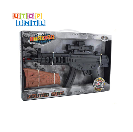 Black plastic battery operated toy gun with light and sound