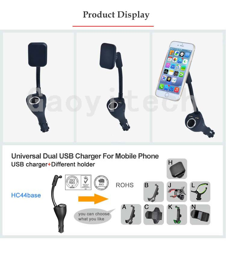 Universal dual usb port car charger car smartphone magnetic china factory price