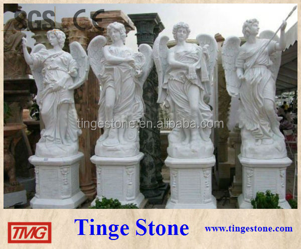 Four season marble statues carved standing sculptures with wings and base