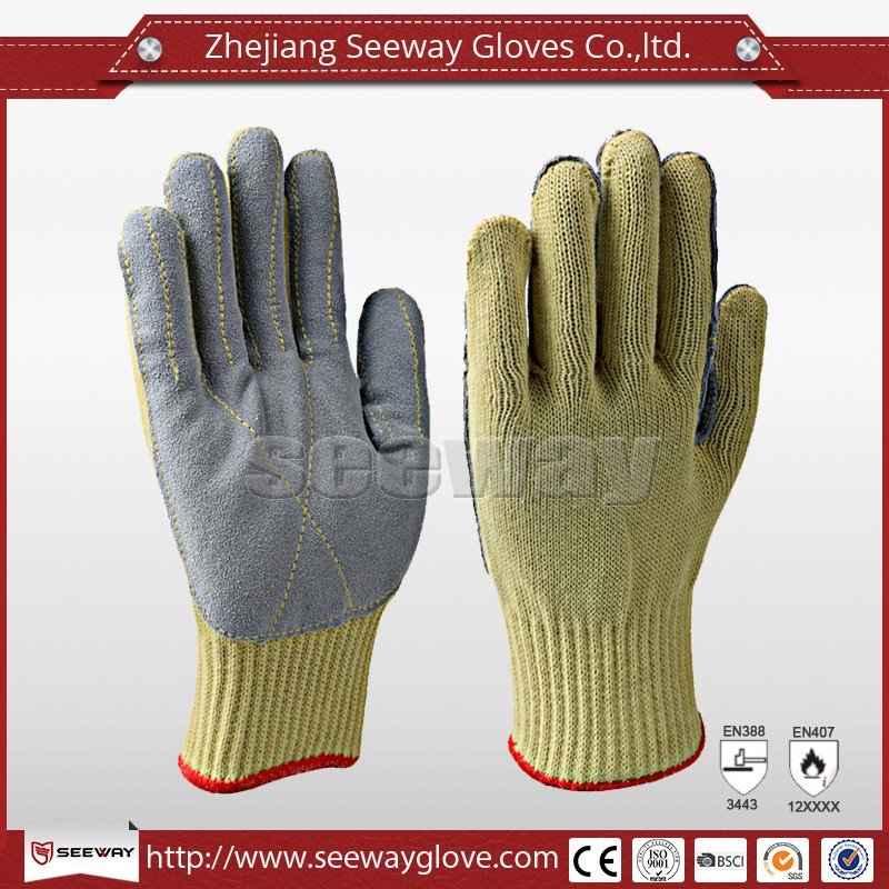 Seeway Cow Split Leather Anti Puncture Gloves