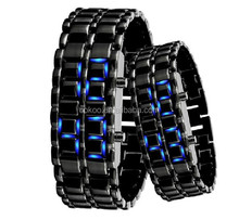Hot Sell Men watch classic Sports Watches New Men's Lava Style Iron Samurai LED Metal Watch