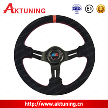 Premium car steering wheel cover with leather
