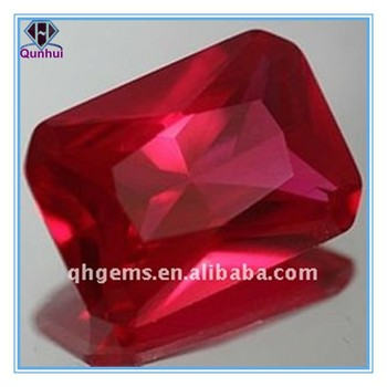 jewelry rectangle shaped red cz corundum