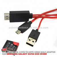 mhl adapter for ipad iphone mhl to hdmi 2m 11P 1080 Micro USB to HDMI HDTV Cable Adapter for Samsung Galaxy S3 S4 S5 Note 2