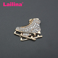 Crystal Light Gold Tone Roller Skates Shoes Rhinestone Brooch