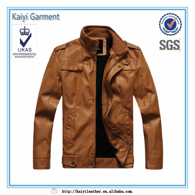 chinese factory style leather blazer for men