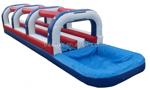 hot sale inflatable slip n slide for adult/inflatable double lane slip slide with pool