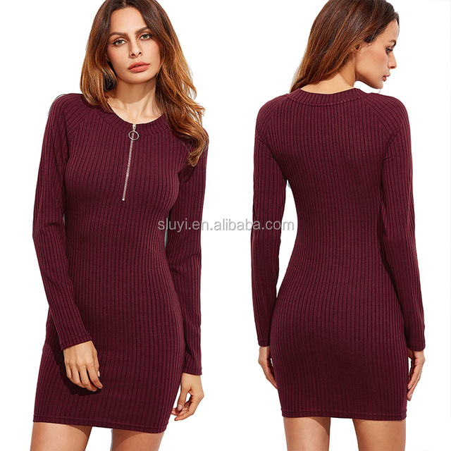slimming wrap dress plain casual red mini dress designs burgundy zip neck raglan long sleeve ribbed knit bodycon dresses